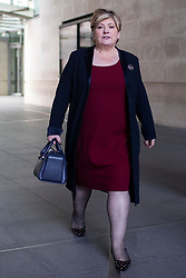 © Licensed to London News Pictures. 12/01/2020. London, UK. Labour Party leadership contender and Shadow Foreign Secretary Emily departs the BBC after appearing on the Andrew Marr Show. Photo credit: George Cracknell Wright/LNP