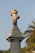 Sunlit Napoleon head stone statue - Vallauris Golfe-Juan Cote dAzur, France