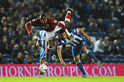 Jonathan Kodjia of Bristol City is challenged by Lewis Dunk of Brighton & Hove Albion - Mandatory byline: Dougie Allward/JMP - 07966 386802 - 20/10/2015 - FOOTBALL - American Express Community Stadium - Brighton, England - Brighton v Bristol City - Sky Bet Championship