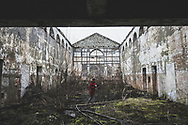 Sompa, Estonia - February 22, 2020: Built in the late 1940s and now in disrepair, this building was part of the mining operation in the area during the Soviet period.