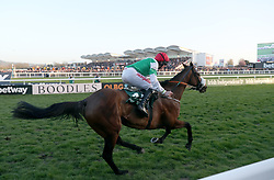 Fayonagh ridden by Jamie Codd on the way to winning the Weatherbys Champion Bumper during Ladies Day of the 2017 Cheltenham Festival at Cheltenham Racecourse