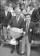Sam Maguire Cup At Abbeyville..1986..22.09.1986..09.22.1986..22nd September 1986..Members of The Kerry,All Ireland winning team payed a courtesy call to Abbeyville, the home of Mr Charles Haughey T.D. They carried with them The Sam Maguire Cup, won at Croke Park the previous day.