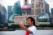 Tourist  taking smartphone self portrait, The Bund, Shanghai, China