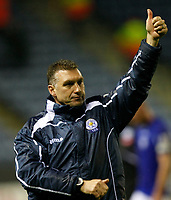 Photo: Steve Bond/Richard Lane Photography. Leicester City v Plymouth Albion. Coca Cola Championship. 21/11/2009. Manager Nigel Pearson salutes the crowd