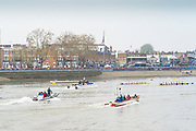 London,  England, Great Britain, 7th April 2019, start of the 2019  Oxford and Cambridge Universities Women's Varsity, Boat Race, Championship Course, Putney to Mortlake, River Thames,<br /> [Mandatory Credit: Peter SPURRIER], Sunday  07/04/2019