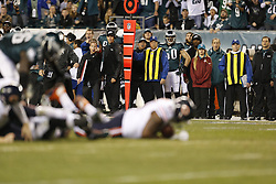 Philadelphia Eagles Sports Science Coordinator Shaun Huls reacts from the sideline during the NFL game between the Chicago Bears and the Philadelphia Eagles on Sunday, December 22nd 2013 in Philadelphia. The Eagles won 54-11. (Photo by Brian Garfinkel)