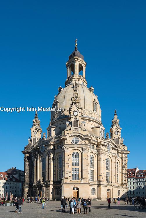 View of Frauenkirche in Neumarkt in Dresden, Germany
