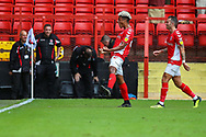 Charlton Athletic forward Lyle Taylor (9) celebrates after scoring the first goal of the match during the EFL Sky Bet League 1 match between Charlton Athletic and Shrewsbury Town at The Valley, London, England on 11 August 2018.