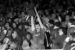 File photo dated 28-03-1984 of Liverpool captain Graeme Souness lifts the Milk Cup after his team's 1-0 win