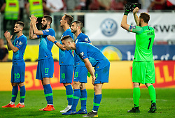 Petar Stojanović of Slovenia, Miha Mevlja of Slovenia, Denis Popovic of Slovenia, Bojan Jokić of Slovenia, Andraž Šporar of Slovenia, Jan Oblak of Slovenia wave to their supporters after the 2020 UEFA European Championships group G qualifying match between Austria and Slovenia at Wörthersee Stadion on June 7, 2019 in Klagenfurt, Austria. Photo by Vid Ponikvar / Sportida