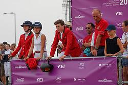 Team Belgium, Philippaerts Anthony, Housen Emilia, Hazebroek Maxime, De Hornois Caro-Belle<br /> Juniors European Championships Jumping <br /> Samorin 2017© Hippo Foto - Dirk Caremans<br /> 10/08/2017