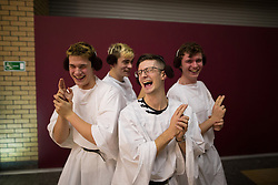 © Licensed to London News Pictures . 16/12/2015 . Manchester , UK . Four men dressed as Princess Leia pose . Star Wars fans attend the midnight screening of Star Wars the Force Awakens at the AMC Great Northern cinema in Manchester City Centre . Photo credit : Joel Goodman/LNP