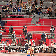 TOKYO, JAPAN August 2:    A sparse media contingent of photographers and TV crews near the finish line at the Olympic Stadium during the Track and Field competition at the Tokyo 2020 Summer Olympic Games on August 2nd, 2021 in Tokyo, Japan. (Photo by Tim Clayton/Corbis via Getty Images)