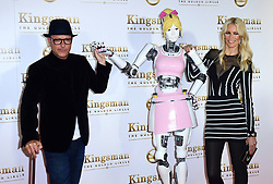 Matthew Vaughn, a robot, and Claudia Schiffer attending the World Premiere of Kingsman: The Golden Circle, at Cineworld in Leicester Square, London. Picture Date: Monday 18 September. Photo credit should read: Ian West/PA Wire