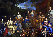 Painting of Louis XIV and the Royal Family. Oil on Canvas. Painted by Jean Nocret in 1670, Versailles.