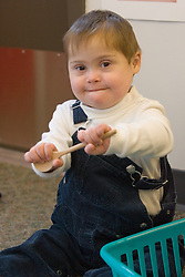 United States, Washington, Bellevue, boy in class at Kindering Center