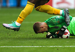 July 14, 2018 - Saint Petersburg, Russia - Jordan Pickford of the England national football team vie for the ball during the 2018 FIFA World Cup Russia 3rd Place Playoff match between Belgium and England at Saint Petersburg Stadium on July 14, 2018 in St. Petersburg, Russia. (Credit Image: © Igor Russak/NurPhoto via ZUMA Press)