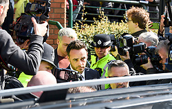 © Licensed to London News Pictures. 16/04/2018. London, UK. TV presenter ANT MCPARTLIN is surrounded by media as he leaves Wimbledon Magistrates Court in London after pleading guilty to the charged of drink driving. Photo credit: Ben Cawthra/LNP