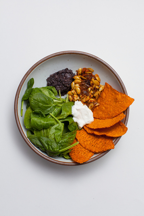 Nacho Salad w/ Chipotle Squash Guts, Refried Black Beans & Spinach from the fridge (m€) - COVID-19 Social Distancing