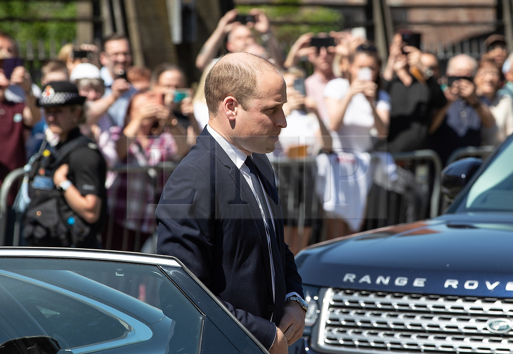 © Licensed to London News Pictures . 22/05/2018 . Manchester , UK . PRINCE WILLIAM arrives at Manchester Cathedral ahead of a Service of Remembrance on the first anniversary of the Manchester Arena bombing . On the evening of 22nd May 2017 , Salman Abedi murdered 22 people and seriously injured dozens more , when he exploded a bomb in the  foyer of the Manchester Arena as concert-goers were leaving an Ariana Grande gig . Photo credit : Joel Goodman/LNP