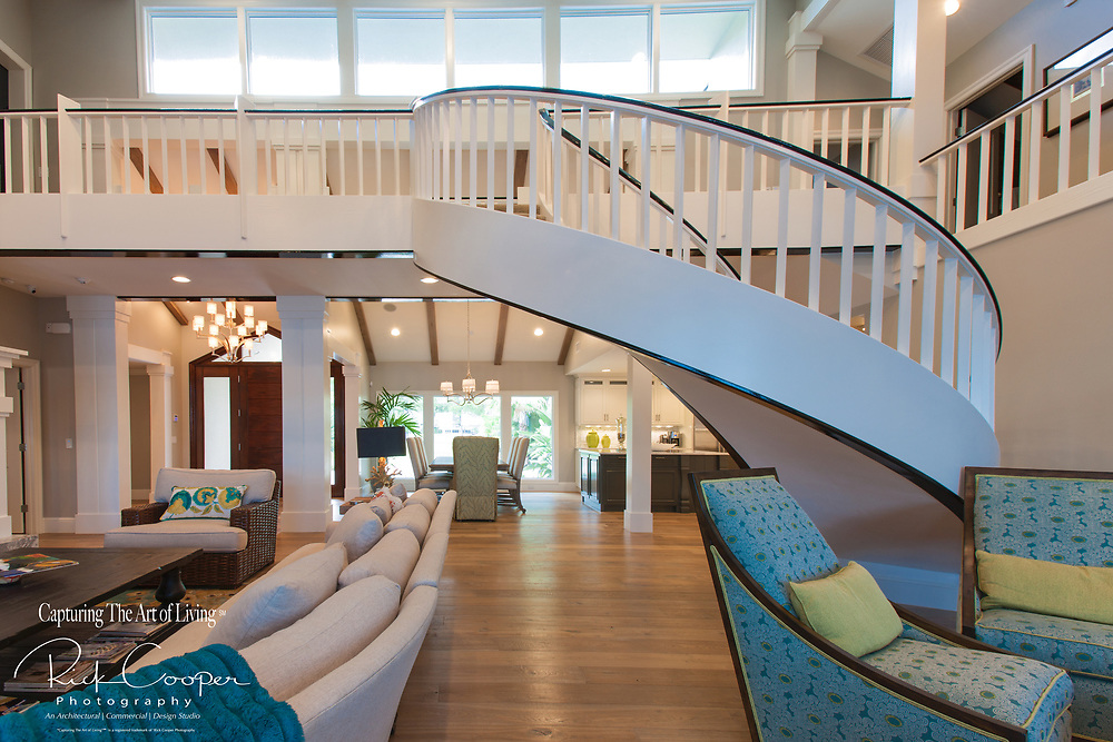 An interior view of elegant staircase in contemporary residence