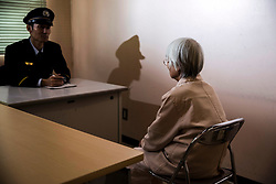 I (76) sits in a counseling room at Tochigi  Prison for women in Tochigi prefecture, Japan.<br /> She is serving her fifth prison sentence for stealing a pack of meat, fish, and noodles at a supermarket.