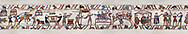 11the Century Medieval Bayeux Tapestry - After arriving in England. Scene 41 - Wadar Supervises Williams cooks. Scene 42 - Williams servants roast meat and fowl. Scene 43 & 44 -  William at a banquet with his Barons and Bishop Odon. Scene 45 - Fortified camp built by Williams men. BYX 41, BYX 42, BYX 43, BYX 44, <br /> <br /> If you prefer you can also buy from our ALAMY PHOTO LIBRARY  Collection visit : https://www.alamy.com/portfolio/paul-williams-funkystock/bayeux-tapestry-medieval-art.html  if you know the scene number you want enter BXY followed bt the scene no into the SEARCH WITHIN GALLERY box  i.e BYX 22 for scene 22)<br /> <br />  Visit our MEDIEVAL ART PHOTO COLLECTIONS for more   photos  to download or buy as prints https://funkystock.photoshelter.com/gallery-collection/Medieval-Middle-Ages-Art-Artefacts-Antiquities-Pictures-Images-of/C0000YpKXiAHnG2k