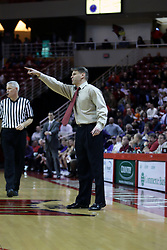 09 January 2007: Coach Porter Moser. Referee is Tom Eades. The Illinois State Redbirds, winless in the Missouri Valley Conference, knocked off the undefeated  Panthers of Northern Iowa 67-64 in overtime at Redbird Arena in Normal Illinois on the campus of Illinois State University.