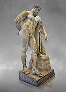 Full length view of end of 2nd century beginning of 3rd century AD Roman marble sculpture of Hercules at rest copied from the second half of the 4th century BC Hellanistic Greek original,  inv 6001, Farnese Collection, Museum of Archaeology, Italy, grey art background ..<br /> <br /> If you prefer to buy from our ALAMY STOCK LIBRARY page at https://www.alamy.com/portfolio/paul-williams-funkystock/greco-roman-sculptures.html . Type -    Naples    - into LOWER SEARCH WITHIN GALLERY box - Refine search by adding a subject, place, background colour, etc.<br /> <br /> Visit our ROMAN WORLD PHOTO COLLECTIONS for more photos to download or buy as wall art prints https://funkystock.photoshelter.com/gallery-collection/The-Romans-Art-Artefacts-Antiquities-Historic-Sites-Pictures-Images/C0000r2uLJJo9_s0