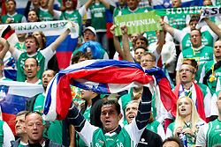 Fans of Slovenia during basketball game between National basketball teams of F.Y.R. of Macedonia and Slovenia at FIBA Europe Eurobasket Lithuania 2011, on September 10, 2011, in Siemens Arena,  Vilnius, Lithuania. Macedonia defeated Slovenia 68-59. (Photo by Vid Ponikvar / Sportida)