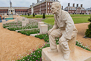 A statue of Bill Pendell MM who was a signaller on D-day - The D-Day 75 Garden by John Everiss Design - Press preview day at The RHS Chelsea Flower Show.