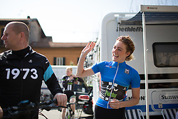 Floortje Mackaaj (Liv-Plantur Cycling Team) waves at fans before the start of Trofeo Alfredo Binda - a 123.3km road race from Gavirate to Cittiglio on March 20.