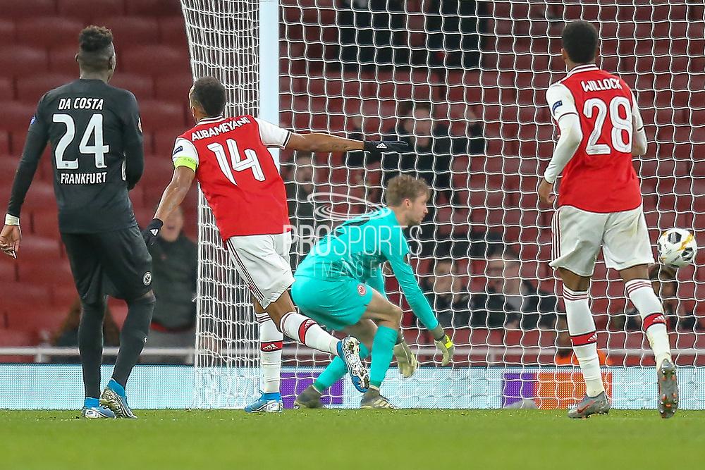 GOAL 1-0 Arsenal forward Pierre-Emerick Aubameyang (14) scores during the Europa League match between Arsenal and Eintracht Frankfurt at the Emirates Stadium, London, England on 28 November 2019.