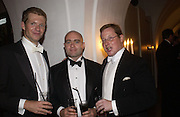 David Nichols, Paul Oakley and Tommy Williams. Connaught Square Squirrel Hunt Inaugural Hunt Ball. Banqueting House, Whitehall. 8 September 2005. ONE TIME USE ONLY - DO NOT ARCHIVE  © Copyright Photograph by Dafydd Jones 66 Stockwell Park Rd. London SW9 0DA Tel 020 7733 0108 www.dafjones.com