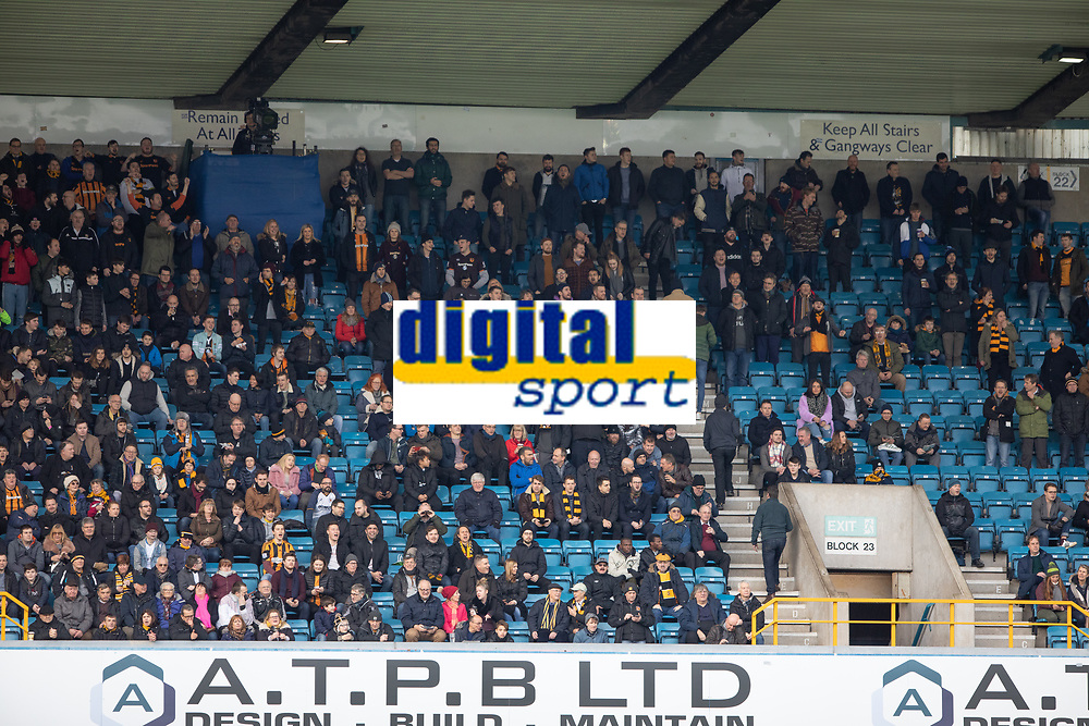 Football - 2018 / 2019 FA Cup - Third Round: Millwall vs. Hull City<br /> <br /> The travelling fans filled less than a quarter of then upper tier as the game at The Den.<br /> <br /> COLORSPORT/DANIEL BEARHAM