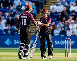 Tom Banton of Somerset with team-mate Babar Azam<br /> <br /> Photographer Simon King/Replay Images<br /> <br /> Vitality Blast T20 - Round 1 - Glamorgan v Somerset - Thursday 18th July 2019 - Sophia Gardens - Cardiff<br /> <br /> World Copyright © Replay Images . All rights reserved. info@replayimages.co.uk - http://replayimages.co.uk