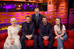 (Left-right) Helen Mirren, Liam Neeson, Graham Norton, Jamie Dornan and Sigrid, during the filming of the Graham Norton Show at The London Studios, south London, to be aired on BBC One on Friday evening.