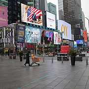 Times Square remains virtually empty due to the Coronavirus (Covid-19) outbreak in New York City, New York on Friday, May 8, 2020.  (Alex Menendez via AP)