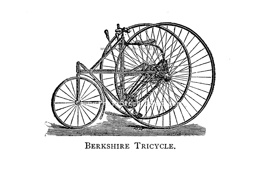 Berkshire Tricycle From Wheels and Wheeling; An indispensable handbook for cyclists, with over two hundred illustrations by Porter, Luther Henry. Published in Boston in 1892