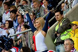 Cheerleader during ice-hockey match between Russia and Slovenia of Group A of IIHF 2011 World Championship Slovakia, on May 1, 2011 in Orange Arena, Bratislava, Slovakia. (Photo by Matic Klansek Velej / Sportida)