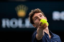 October 29, 2018 - Paris, Ile-de-France (region, France - Adrian Mannarino (FRA) vs. Ugo Humbert (FRA) ........ Adrian Mannarino (FRA) wins against Frenchman (99em ATP) Ugo Humbert in the first round at the Rolex Paris Masters tennis tournament AccorHotels Arena in Paris, France, October 29, 2018 (Credit Image: © Julien Mattia/Le Pictorium Agency via ZUMA Press)