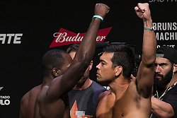 October 27, 2017 - Sao Paulo, Sao Paulo, Brazil - Oct, 2017 - Sao Paulo, Sao Paulo, Brazil - UFC fighters DEREK BRUSON (left) and LYOTO MACHIDA face each other after official weigh-in on Friday (27th) at the Ibirapuera Gymnasium in the city of São Paulo. The venue will stage the fight between the two during the UFC Sao Paulo Fight Night, this Saturday (28) (Credit Image: © Marcelo Chello/CJPress via ZUMA Wire)