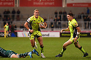 Sale Sharks Mike Haley makes a break close to the Irish line during the The Aviva Premiership match Sale Sharks -V- London Irish  at The AJ Bell Stadium, Salford, Greater Manchester, England on September 15, 2017. (Steve Flynn/Image of Sport)