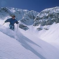 SKIING, Big Sky MT, Meg O'Leary (MR) skiing at Big Sky, MT