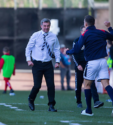 Raith Rovers manager Barry Smith cele Kevin Nisbet (15) scoring their fourth goal, with Airdrie's manager Steve Findlay in the back. Airdrie 3 v 4 Raith Rovers, Scottish Football League Division One played 25/8/2018 at the Excelsior Stadium.