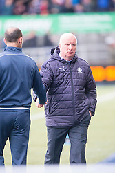 Dunfermline's manager Allan Johnston and Falkirk's manager Peter Houston at the end. Falkirk 2 v 1 Dunfermline, Scottish Championship game played 15/10/2016, at The Falkirk Stadium.