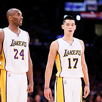 23 November 2014: Los Angeles Lakers guard Kobe Bryant (24) is seen next to Los Angeles Lakers guard Jeremy Lin (17) during the Los Angeles Lakers season game versus the Denver Nuggets, at the Staples Center, Los Angeles, California, USA.