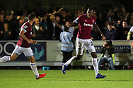 West Ham United defender Issa Diop (23) celebrating after scoring goal to make it 1-1 during the EFL Carabao Cup 2nd round match between AFC Wimbledon and West Ham United at the Cherry Red Records Stadium, Kingston, England on 28 August 2018.