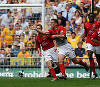 Photo: Steve Bond/Richard Lane Photography. <br />Ebbsfleet United v Torquay United. The FA Carlsberg Trophy Final. 10/05/2008. Chris McFee turns away after scoring