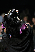 Fado singer Raquel Tavares performing wearing a black shawl, very often weared by fado woman singers. She is one of the young generation of fado singers and players that renewed the music scene in during the last years.